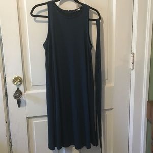 LOFT Teal, Sleeveless Swing Dress with Belt/Tie